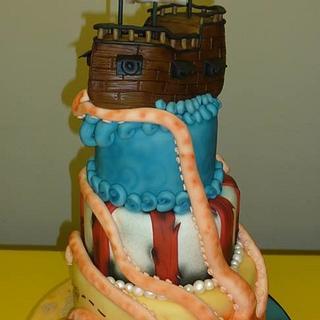4 tiered Pirate cake
