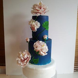 blue and pearl wedding cake by https:/ /www.facebook.com/thepinkpeonycupcakery