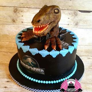 RAWR!!!  Jurassic World Velociraptor Cake