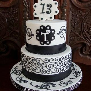 Black & White, Hand-Piped - Cake by Cakes ROCK!!!