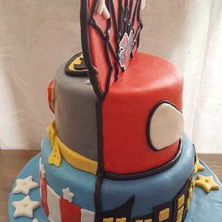 Superhero double side cake