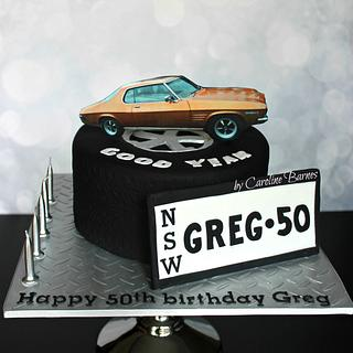 Tyre cake with Monaro car topper