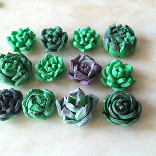 Fondant / Gumpates Succulents painted with food coloring and vodka.