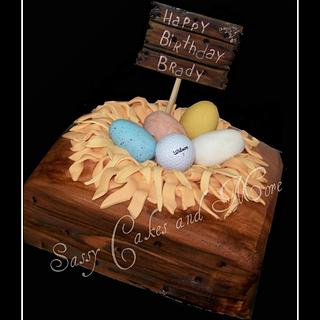 Egg in nest cake