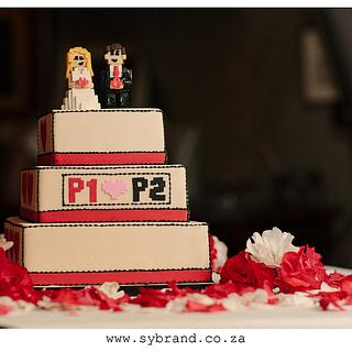 Geeky 8-bit themed Wedding Cake - Cake by Robyn