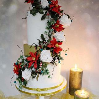 Winter wedding baby gender reveal. - Cake by Amelia Rose Cake Studio