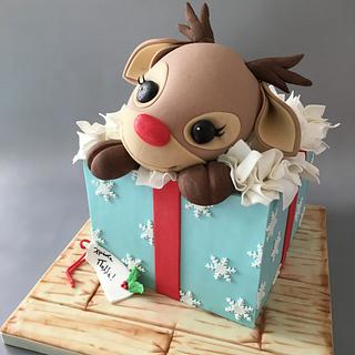 Rudolph Gift Box Cake! - Cake by Cakes By Samantha (Greece)