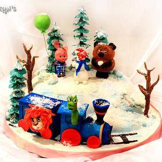 """Cake """"Winnie the Pooh, Piglet, Lion and Turtle"""""""