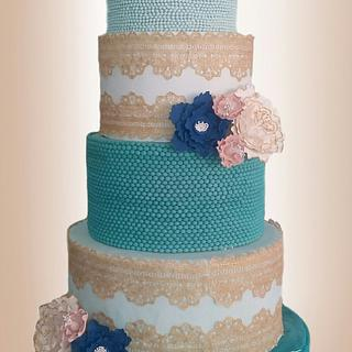 Ombré Beads and Gold Lace Birthday Cake