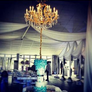 upside down chandelier cake