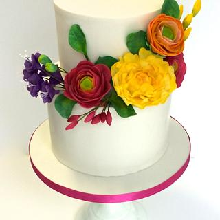 Colorful flowers for a christening cake - Cake by Sweet Factory
