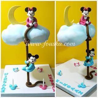 Cloud cake with Mickey & Minnie