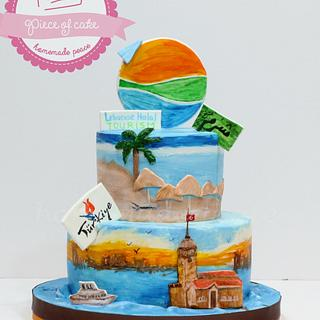 Turkey/Egypt handpainted cake