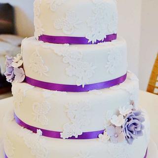 Purple and lace wedding cake - Cake by Rachel Nickson