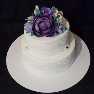 Lace and flowers Wedding cake
