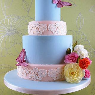 TTT Butterfly Blush Wedding Cake