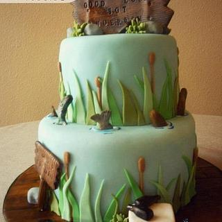 Montana Fishing Themed Army ETS Cake