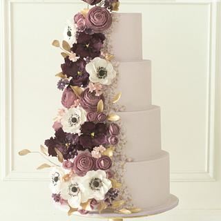 Purple bas relief wedding cake