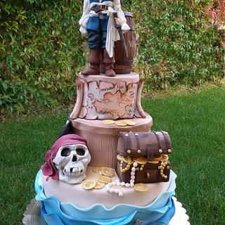 Torta pirata dei Caraibi Jack Sparrow - Pirates of the Caribbean Jack Sparrow cake