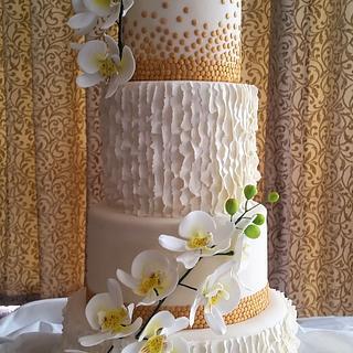 Phaelanopsis & Ruffles Wedding Cake