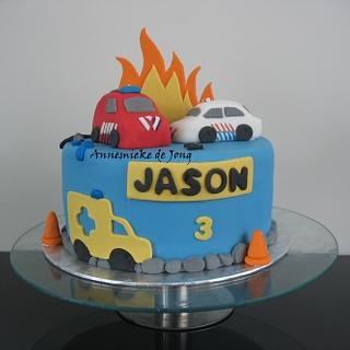 Fire/ Police truck cake