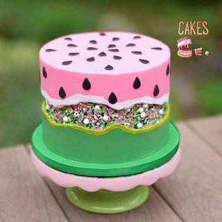 Watermelon Sprinkle Fault Line Cake