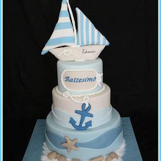 Sea baptism cake boy