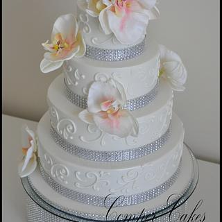 Bling Wedding Cake With Royal icing Piping