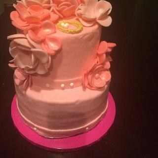 Pink with flowers  - Cake by Cakes by Crissy
