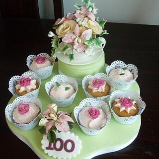 Sugar Cup and Saucer with cup cakes