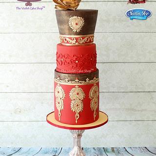 SINDOOR & GOLD - Elegant Indian Fashion Collaboration Cake
