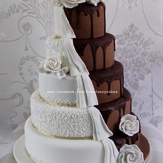Dripping chocolate wedding cake half and half