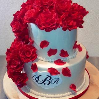 My First Pro Wedding Cake Ever! (Gumpaste Rose Cake)