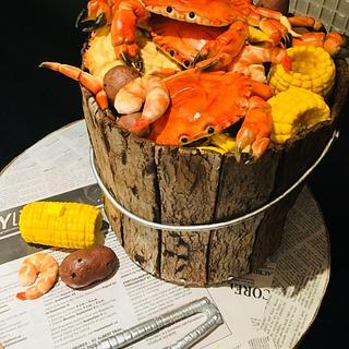 Crab bucket cake