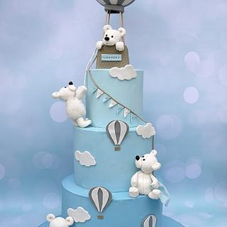 Bears Hot air balloon Baptism cake