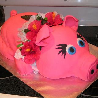 Pink luau pig - Cake by Cake Creations by Christy