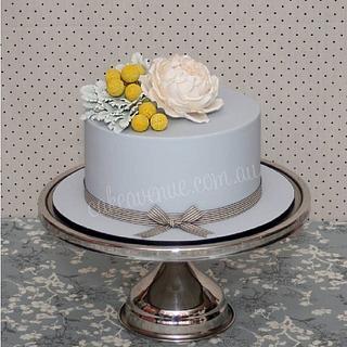 Gray & Yellow Engagement Cake