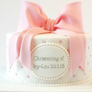 Sugar bow christening cake