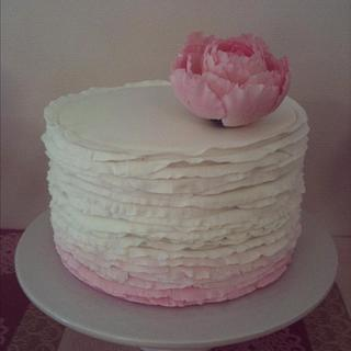 Ombre Fondant Ruffle Cake with Peony