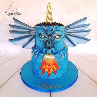 x Dragon-icorn Two-Sided Birthday Cake x - Cake by Sugar Chic
