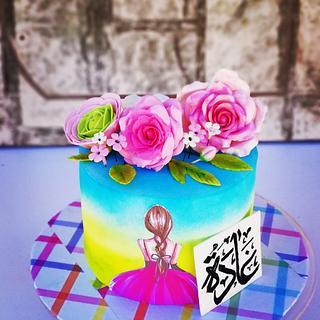 gumpaste roses cake