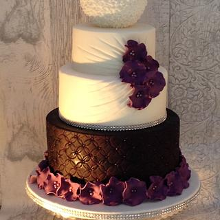 Cadbury purple rouched effect cake