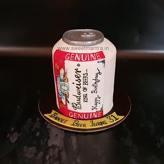 Budweiser beer can theme shaped designer fondant 3D cake for husband's birthday