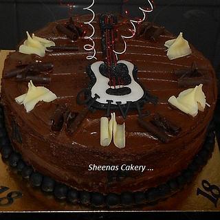 Chocolate cake with Sugarpaste Guitar