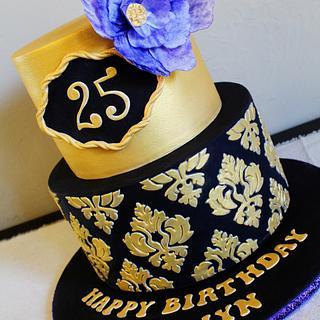Black & Gold Damask - Cake by Kendra
