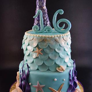 Sweet 16 Mermaid Cake - Cake by Cathy Leavitt