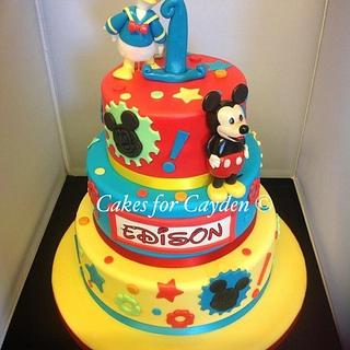 Disney Cake with Mickey Mouse and Donald Duck models