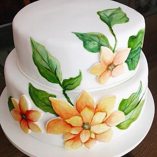 Handmade painted cake