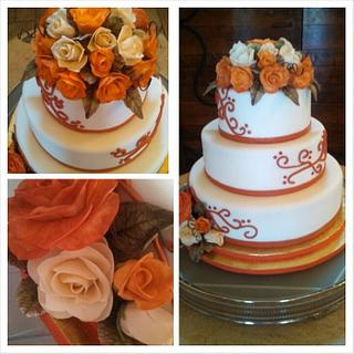 Round Rose Wedding Cake