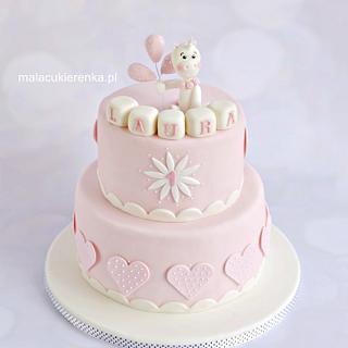 1st Pink Birthday Cake